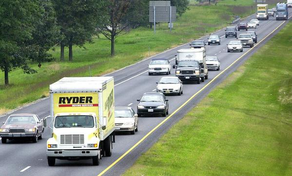 Traffic moves north on Interstate 81 near the Md. 144 overpass near Hagerstown.