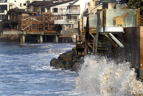 High tide at Broad Beach in Malibu. Extreme weather and rising tides have take away most of the sand.