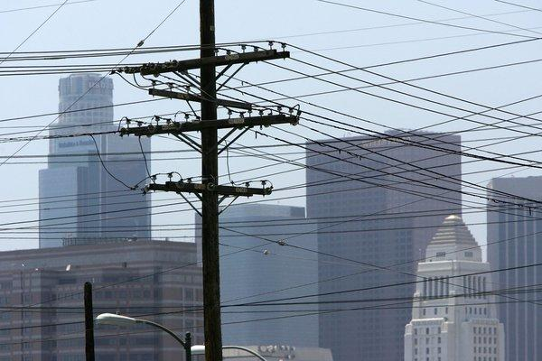 A web of power lines in downtown Los Angeles. The California Center for Sustainable Communities at UCLA has created an interactive map of the city's electricity use.