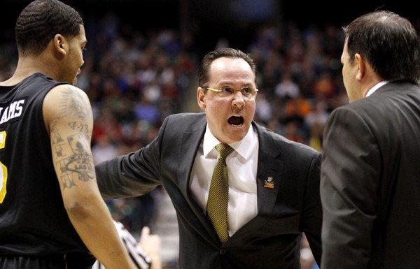 Wichita State Coach Gregg Marshall barks instructions during the victory over top-seeded Gonzaga last week.