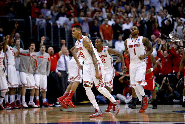 Ohio State's LaQuinton Ross (10) celebrates after hitting the game-winning shot against Arizona.