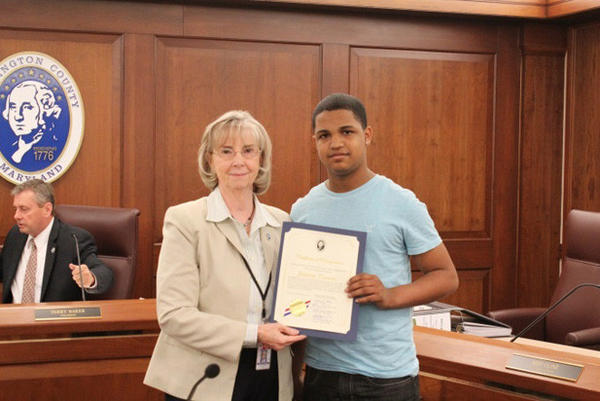The Washington County Office of Community Grant Management presented Jeison Torres with the Washington County Commissioners' Youth Meritorious Award during the commissioners' meeting Tuesday.