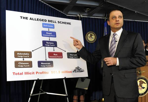 Preet Bharara, the top federal prosecutor in Manhattan, has won 71 insider trading convictions since he took office three years ago.