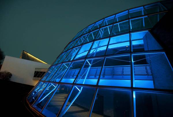 "Muhlenberg College's Trexler Pavilion for Theatre and Dance is lit as part of the ""Light it Up Blue"" campaign for autism awareness in 2012."