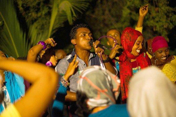 Rap group Waayaha Cusub performs at the Somali Reconciliation Festival in Mogadishu, the city's first major music festival in two decades. The musicians aim to counter Islamist militants' message of violence with one of peace.