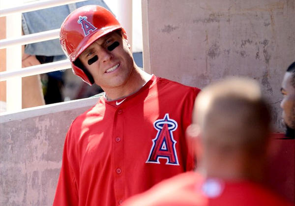 Angels outfielder Josh Hamilton gets ready to step into the on-deck circle against the Milwaukee Brewers during an exhibition game.