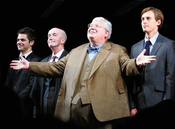 "James Corden, left, Clive Merrison, Richard Griffiths and Stephen Campbell Moore take the curtain call in 2006 at the opening night of the play ""The History Boys"" on Broadway. Griffiths won a Tony for his performance."