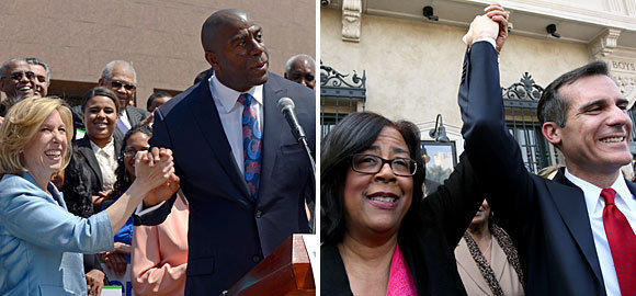 At left, City Controller Wendy Greuel with Magic Johnson after getting his endorsement. At right, Councilwoman Jan Perry endorses Eric Garcetti.