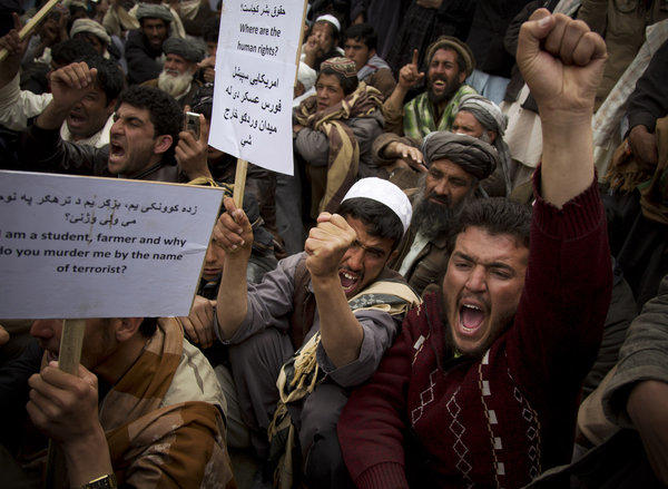 "Afghan men chant ""U.S. special operations forces out!"" as several hundred demonstrators marched to the parliament building in Kabul, Afghanistan earlier this month. The senior commander of U.S. forces in the country said Saturday that American special operations forces have handed over their base in eastern Afghanistan's Nerkh district to Afghan troops."
