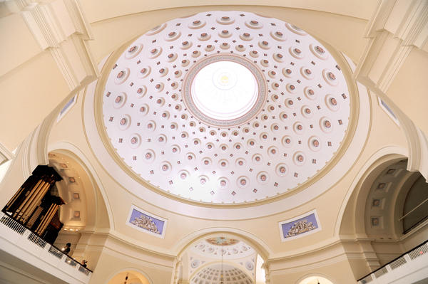 The repaired dome in the Basilica, after the earthquake damage it sustained in 2011, is shown ready for Easter and the grand reopening.