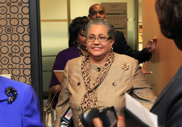 Former Atlanta schools Supt. Beverly Hall, center, was indicted along with 34 fellow educators.