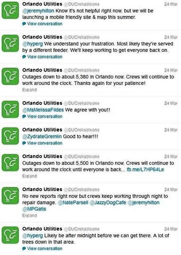 Screenshot of @OUCreliableone Twitter account during the Sunday storm.