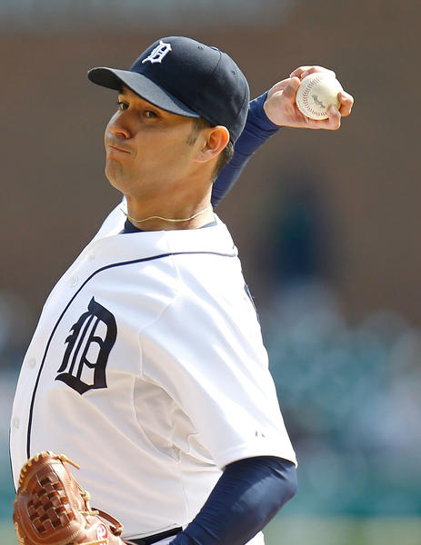 Tigers' Anibal Sanchez throws a second inning pitch while playing the Athletics at Comerica Park.