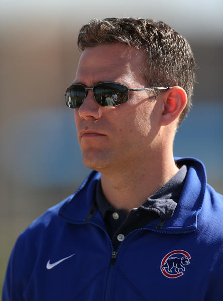 Theo Epstein during spring training at Fitch Park.