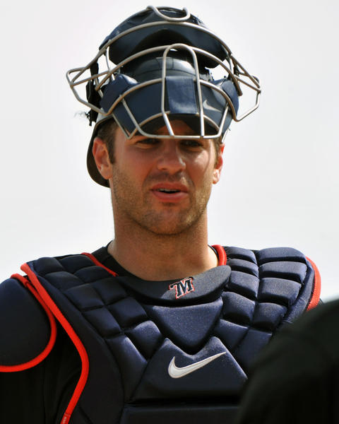 Joe Mauer sets for play against Blue Jays.