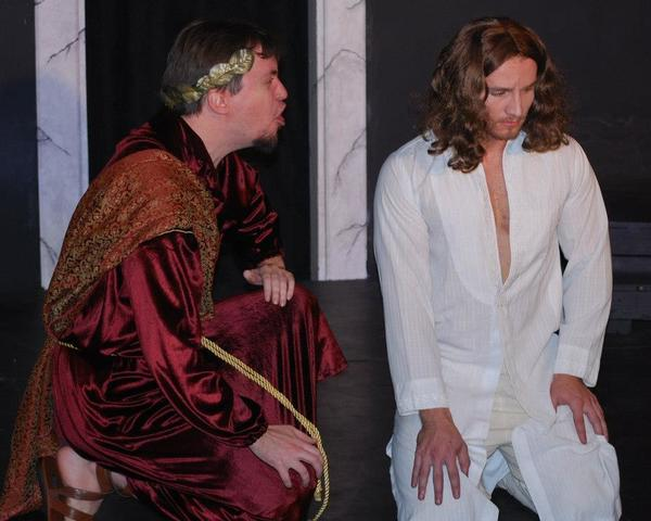 "Pilate (Rob Del Medico) questions Jesus (Tony Flaherty) in Breakthrough Theatre's ""Jesus Christ Superstar."""