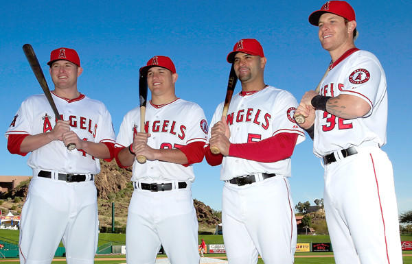 The Angels offense will count on the big bats of (from left) Mark Trumbo, Mike Trout, Albert Pujols and Josh Hamilton this season.