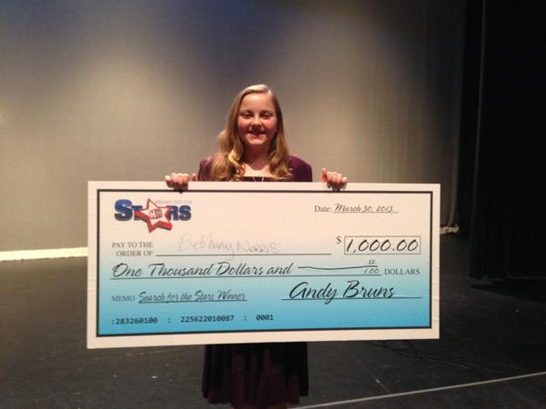 On Saturday afternoon at The Maryland Theatre, Bethany Norris' love for singing scored her a cool $1,000 as the winner of the Search for the Stars final, an event hosted by Herald-Mail Media.
