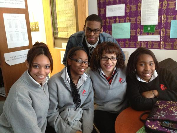 These seniors at Hartford Public High School's Law and Government Academy got into a variety of colleges. The students are from left, first row: Winifer Rosario, Shavonne Jackson, Honey Perez, and Shaynian Gilling. Behind them is Jeremiah Sturges.