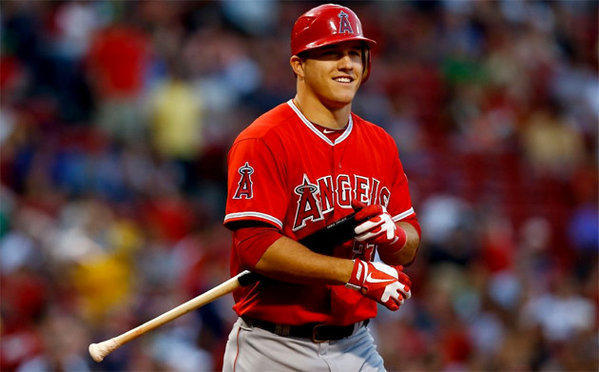 Mike Trout will begin the season in left field and batting No. 1 for the Angels.