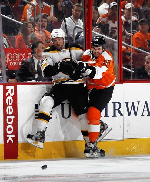Zac Rinaldo #36 of the Philadelphia Flyers hits Johnny Boychuk #55 of the Boston Bruins into the boards at the Wells Fargo Center on March 30, 2013 in Philadelphia, Pennsylvania. The Flyers defeated the Bruins 3-1.