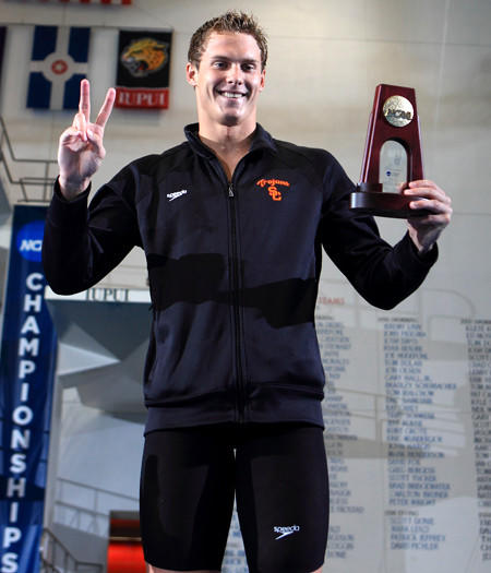 Vladimir Morozov of USC celebrates his victory in the 50-yard freestyle on Thursday at the NCAA championships in Indianapolis.