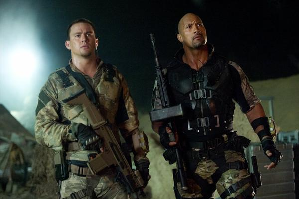 "Channing Tatum, left, and Dwayne Johnson in a scene from ""G.I. Joe: Retaliation."""
