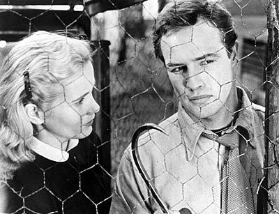 "Marlon Brando with Eva Marie Saint in the 1954 movie ""On the Waterfront."""