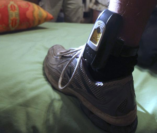A GPS locator worn on the ankle of a sex-offender parolee in Rio Linda, Calif.