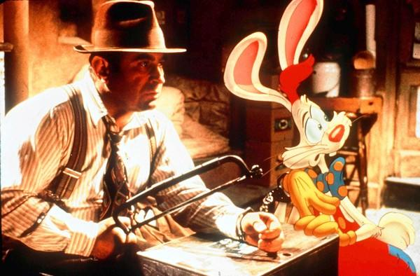"Bob Hoskins stars as Eddie Valiant in ""Who Framed Roger Rabbit."""