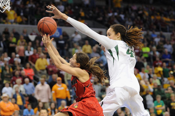 Louisville's Jude Schimmel shoots as Baylor's Brittney Griner defends during the second half.