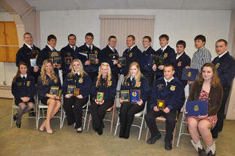 Brothersvalley FFA Chapter members who received awards during the annual banquet at the Berlin Community Building March 12 are from left, front: Shannon Copeland, state FFA officer; Catherine Metzgar, Amanda Leister, Megan Brown, Kristin Paul, Brandon Glessner and Noelle Petro. Back row: Mitch Walker, Collin Stoltzfus, Sam Dively, Austin Weyant, Max Howard, Levi Bowser, Dakota Chonko, Alex Brown, Kordell Leydig, Mitchell Black and Weston Hilliard.