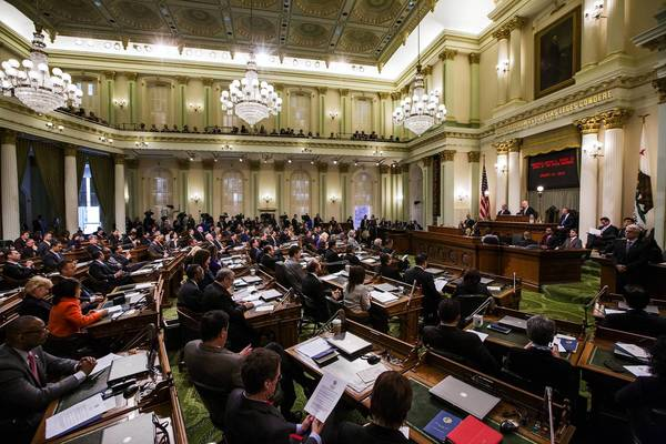 Gov. Jerry Brown gives the State of the State address at the Assembly in Sacramento in January.