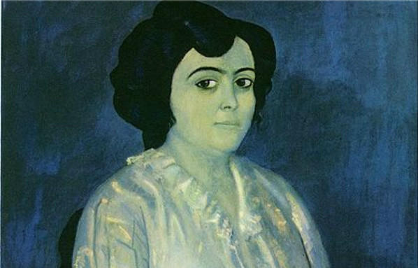 "A detail of ""Madame Soler,"" a painting by Pablo Picasso."