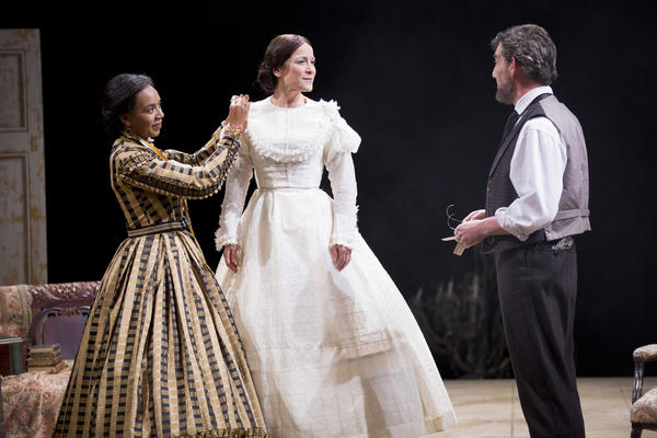 (L-R) Sameerah Luqmaan-Harris as Elizabeth Keckly, Naomi Jacobson as Mary Todd Lincoln and Thomas Adrian Simpson as Abraham Lincoln in Arena Stage at the Mead Center for American Theaters production of Mary T. & Lizzy K. March 15-April 28, 2013. Photo by Scott Suchman.