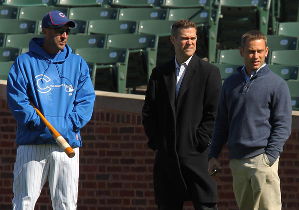 Dale Sveum (from left), Theo Epstein and Jed Hoyer are confident the Cubs will fare better than last season.
