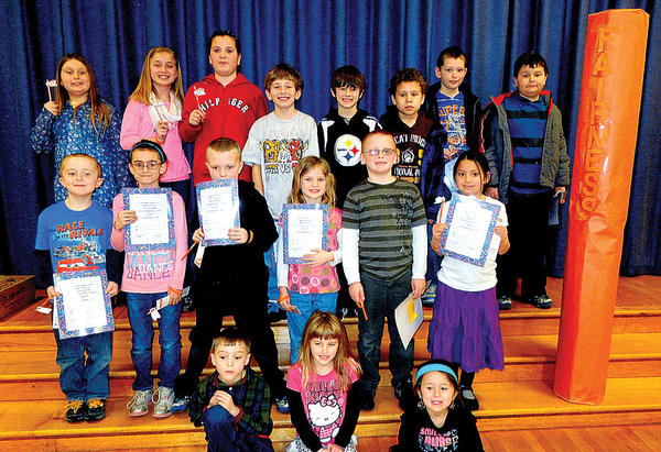 Clear Spring Elementary School honored students who demonstrated the Character Counts! pillar of fairness during March. Front row, from left, Trevor Firey, Liberty Norris and Kailyn McCauley. Middle row, Cole Kelley, Kyah Marshall, Brayden Sims, Meghan Mullins, Adin Hastings and Marley Cook. Back row, Kaylie Caton, Zoey Breakall, Katie Reeder, John Reese, Cody Uchima, Zachary Theis, Xavier Trader and Seth Rounds. Not pictured: Braydon Obitts.