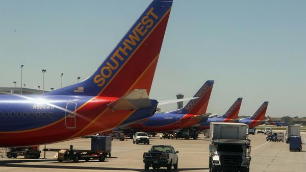 Southwest Airlines jets at the gate in Long Island MacArthur Islip Airport in 2010.