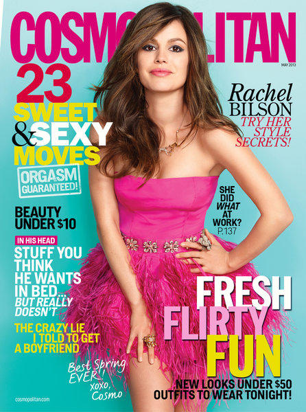 Rachel Bilson on cover of April Cosmopolitan.