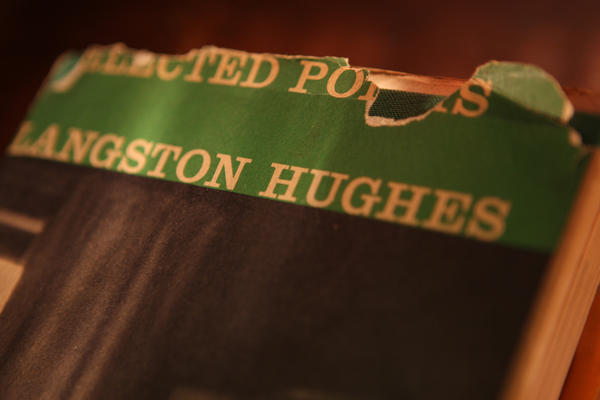 "A much-read copy of ""Selected Poems by Langston Hughes."""