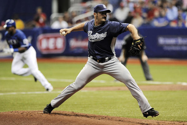 San Diego Padres pitcher Jason Marquis throws during an exhibition game against the Texas Rangers on Saturday at the Alamodome in San Antonio