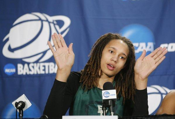 Baylor's Britney Griner addresses the media.