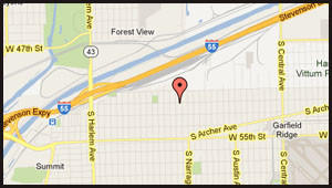 Map of location of sexual assault on Southwest Side.