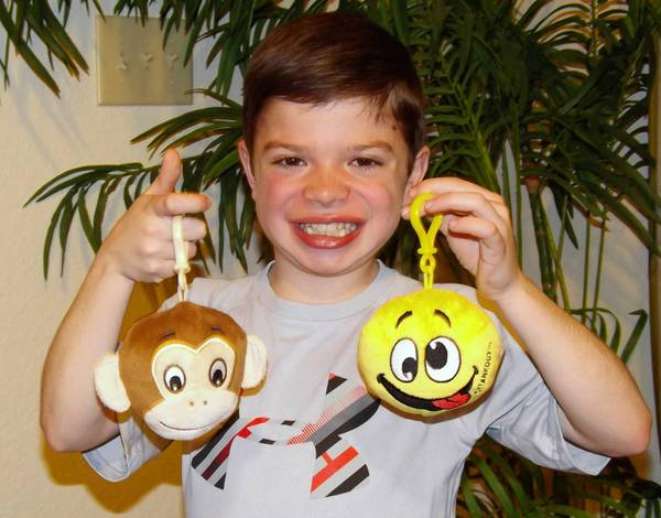 Ryan Karlin, 10, of Naperville, who has a rare form of muscular dystrophy, holds two examples of the plush toy that also serves as an air freshener.
