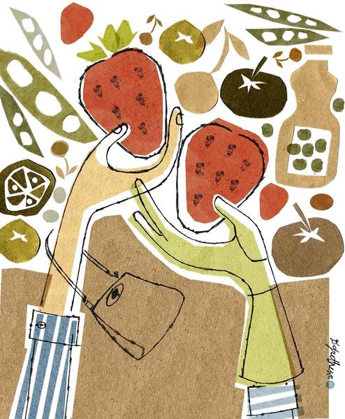 This artwork by Donna Grethen relates to buying organic food vs. buying less costly commercially farmed foods.