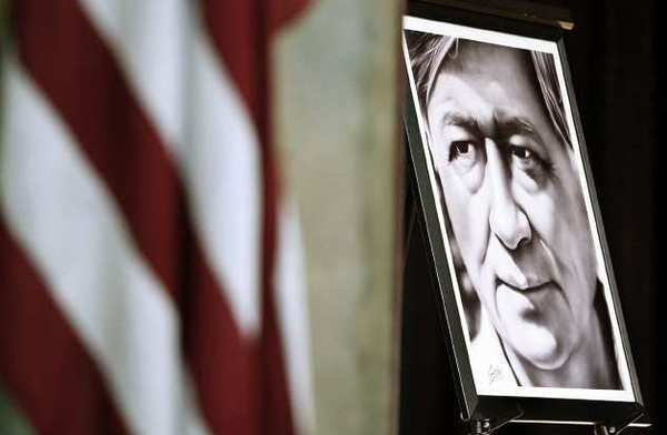 A portrait of civil rights activist Cesar Chavez was displayed during the city's 12th annual Cesar Chavez celebration at Pacific Community Center.