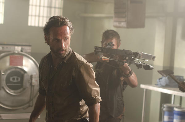 "Andrew Lincoln and Norman Reedus in ""The Walking Dead."""