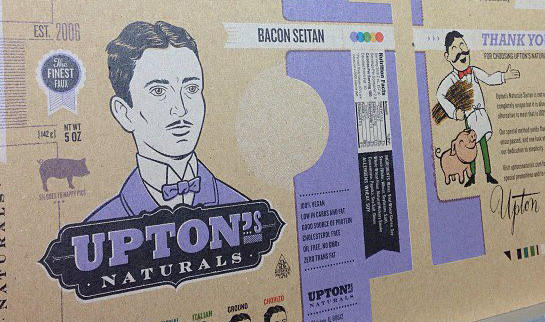 Packaging for bacon seitan by Chicago-based vegan foods manufacturer Upton's Naturals