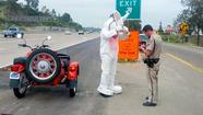 "<span style=""font-size: small;"">A motorcyclist wearing a full Easter Bunny costume was pulled over by the California Highway Patrol early Saturday after officers on routine patrol spotted the costumed man traveling down Interstate 8 without a helmet. CHP Officer Adam Griffiths reportedly radioed: ""I'm stopping the Easter Bunny."" The motorist – who was cruising in a shiny red bike with an old-fashioned sidecar – told Griffiths that he was on his way to an Easter charity event at which he was required to wear a bunny costume, including white gloves and floppy feet. Griffiths' partner snapped a photo of the repentant rabbit, which has since circulated widely on social media networks. Grifiths told the man that the bunny head obstructed his view and put other motorists in danger,according to local reports. But Griffiths ultimately let him off with a verbal warning instead of a citation.</span>"