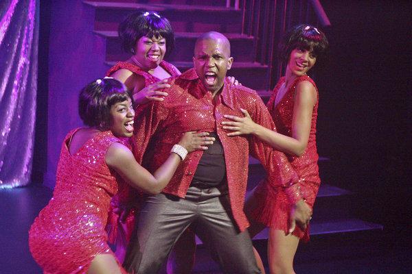 "Tyra Dennis, left, Constance Jewell Lopez, Keith Arthur Bolden and Jennifer Colby Talton in ""Dreamgirls."""